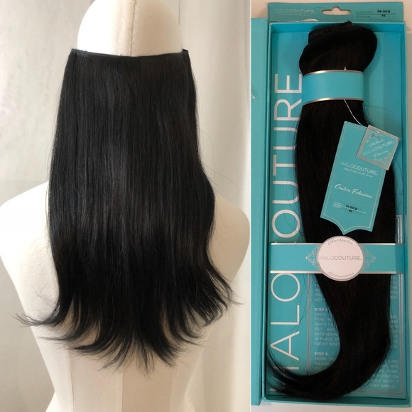 Halo Couture Other | Halocouture 16 Real Hair Extensions 1 Blkbrown ...